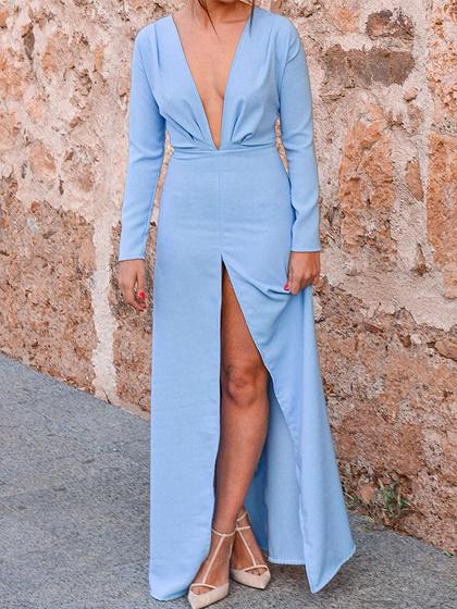 Blue Plunge Thigh Split Front Long Sleeve Chic Women Maxi Dress