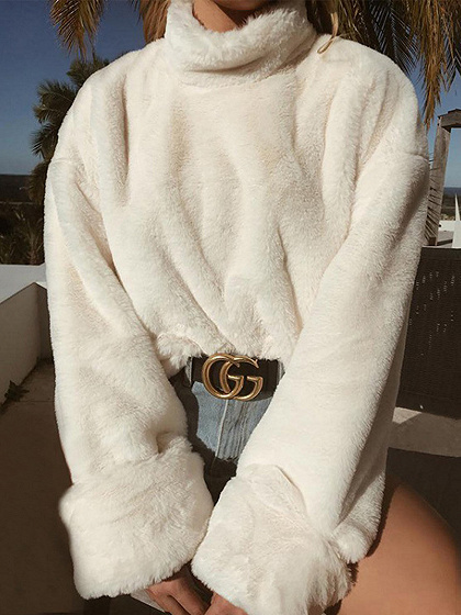White Cotton Blend High Neck Long Sleeve Chic Women Sweatshirt