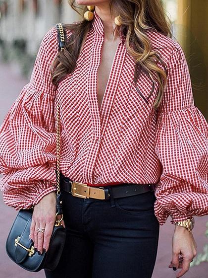Red Plaid Cotton V-neck Puff Sleeve Chic Women Shirt