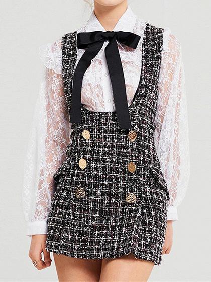 Black Plaid Cotton Shoulder Strap Pocket Detail Chic Women Mini Dress