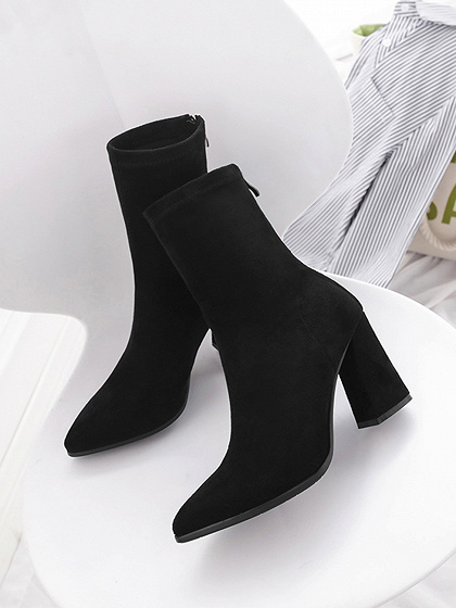 Black Velvet Chic Women Pointed Toe Ankle Boots