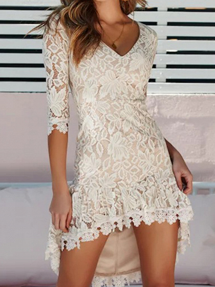 Light Beige V-neck Forked Tail Chic Women Lace Hi-Lo Mini Dress