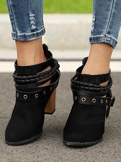 Black Velvet Buckle Strap Chunky Heel Chic Women Ankle Boots