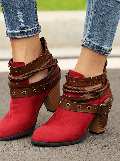 Red Velvet Buckle Strap Chunky Heel Chic Women Ankle Boots