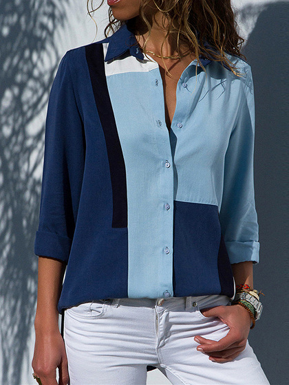 Blue Chiffon Contrast Panel Long Sleeve Chic Women Shirt