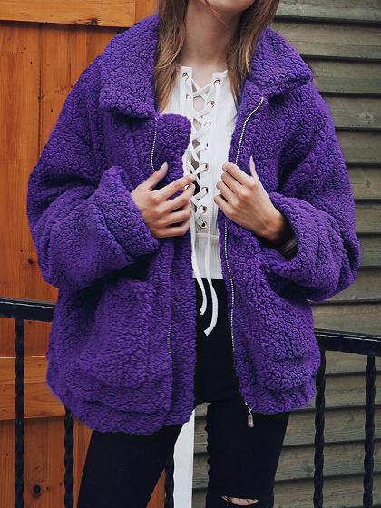 Purple Lapel Long Sleeve Chic Women Faux Shearling Coat