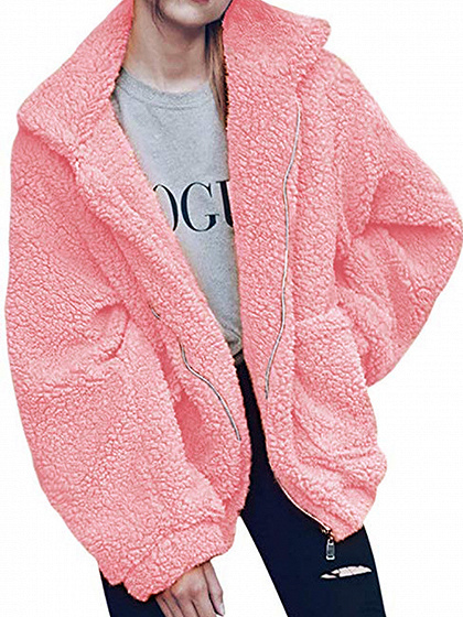 Pink Lapel Long Sleeve Chic Women Faux Shearling Coat