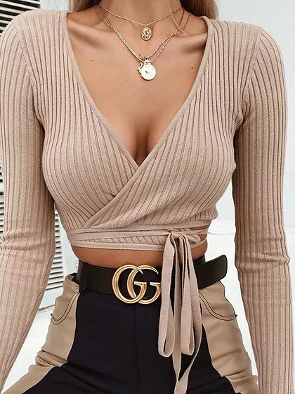 Khaki Ribbed V-neck Tie Detail Long Sleeve Chic Women Crop Top