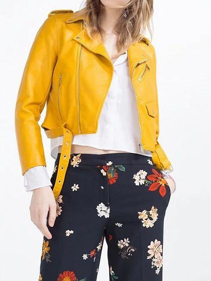 Yellow Lapel Long Sleeve Chic Women Leather Look Biker Jacket
