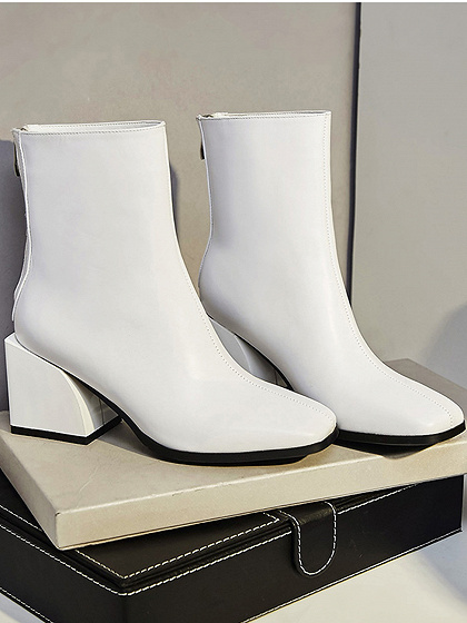 White Square Toe Chic Women PU Ankle Heeled Boots