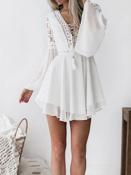 White Chiffon Plunge Eyelet Lace Up Flare Sleeve Chic Women Mini Dress
