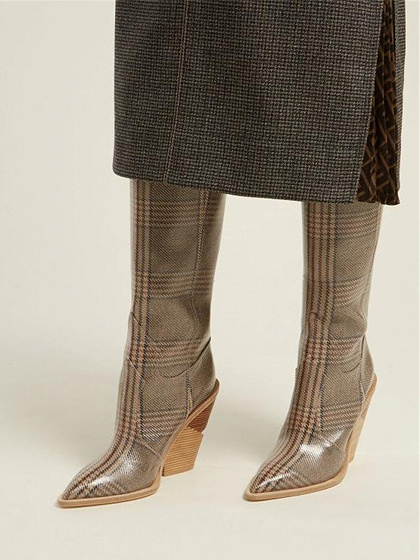 Brown Plaid Microfiber Pointed Toe Chic Women Heeled Knee High Boots