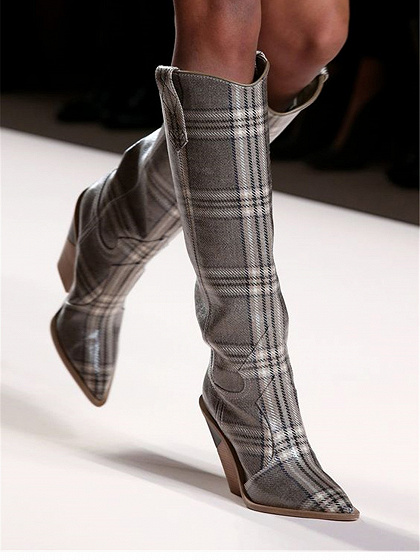 Gray Plaid Microfiber Pointed Toe Chic Women Heeled Knee High Boots