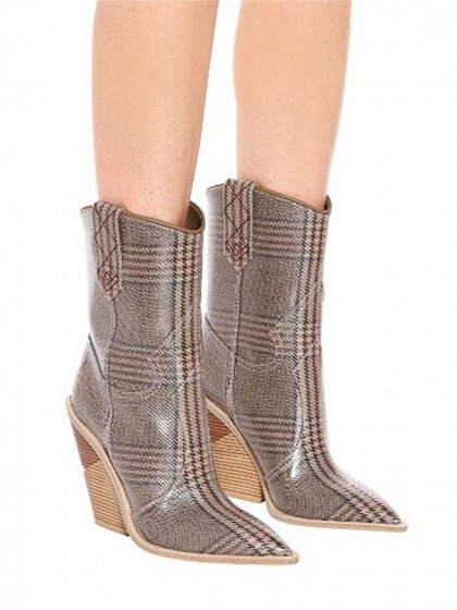 Brown Plaid Microfiber Gap Detail Pointed Toe Chic Women Heeled Boots