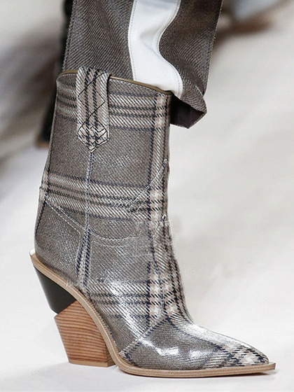 Gray Plaid Microfiber Gap Detail Pointed Toe Chic Women Heeled Boots