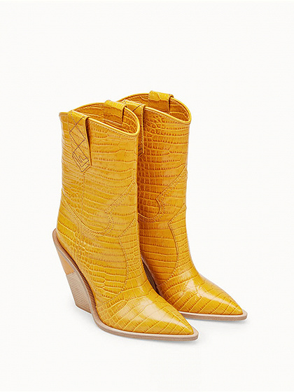Yellow Microfiber Gap Detail Pointed Toe Chic Women Heeled Boots