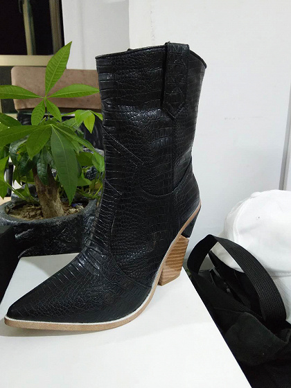Black Microfiber Gap Detail Pointed Toe Chic Women Heeled Boots