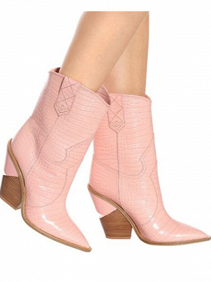 Pink Microfiber Gap Detail Pointed Toe Chic Women Heeled Boots