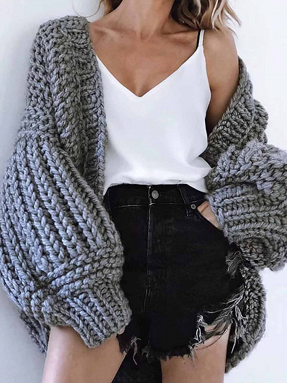 Gray Open Front Puff Sleeve Chic Women Knit Cardigan