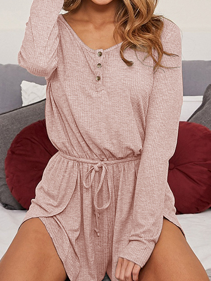 Pink Ribbed Drawstring Waist Long Sleeve Chic Women Romper Playsuit