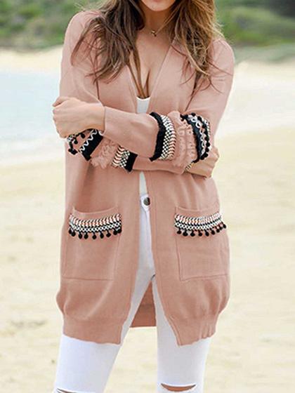 Pink Open Front Folk Panel Pocket Detail Long Sleeve Knit Cardigan