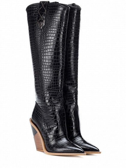 Black Stripe Microfiber Pointed Toe High Heeled Over The Knee Boots