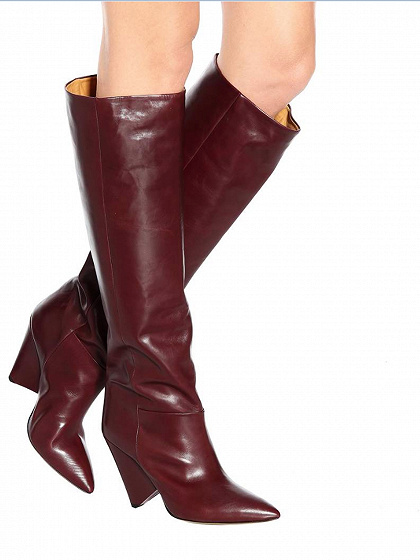 Burgundy Leather Pointed Heeled Over the Knee Boots