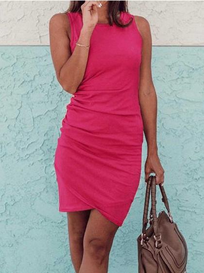 Pink Cotton Drawstring Side Sleeveless Chic Women Bodycon Mini Dress