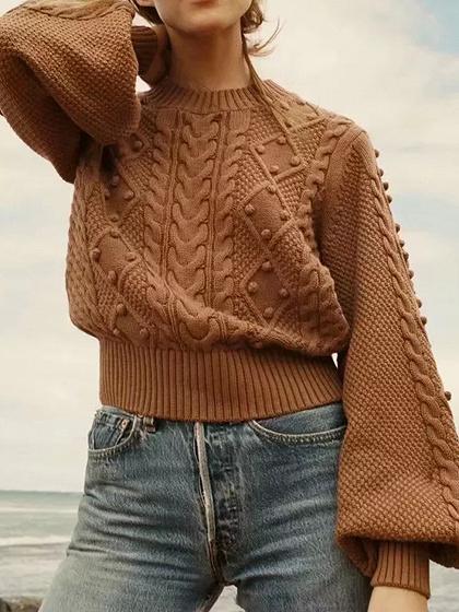 Brown Fluffy Ball Detail Puff Sleeve Chic Women Knit Sweater