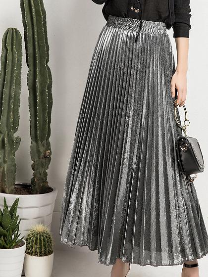 Silver Cotton Blend High Waist Pleated Detail Maxi Skirt