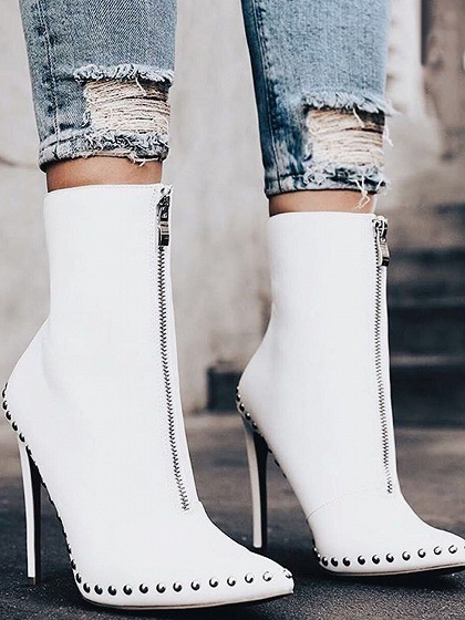 White PU Stud Toe High Heeled Ankle Boots
