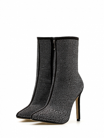 Black Velvet Sequin Detail Pointed Toe High Heeled Ankle Boots