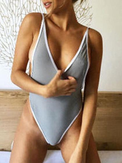 Gray Open Back Swimsuit