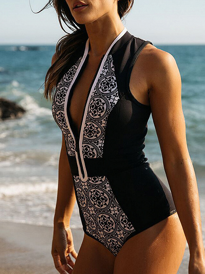 Black Print Detail Zip Front Swimsuit