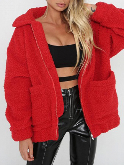 Red Lapel Pocket Detail Long Sleeve Faux Shearling Coat