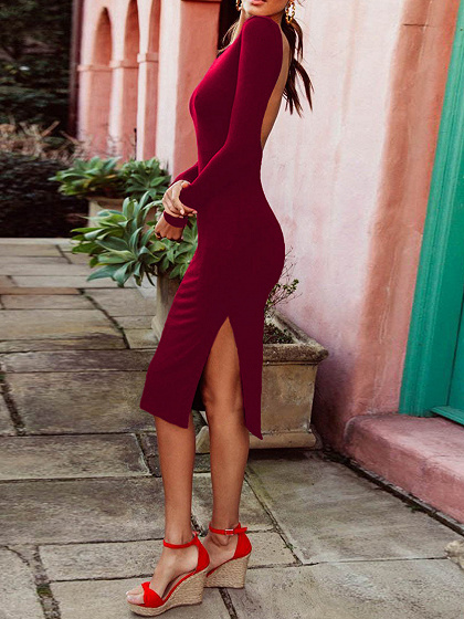 Burgundy Split Side Open Back Long Sleeve Bodycon Dress