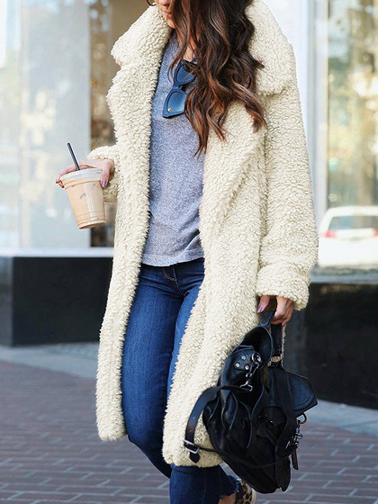 White Lapel Long Sleeve Chic Women Faux Fur Coat