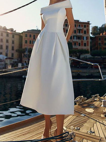White Off Shoulder Chic Women Midi Dress