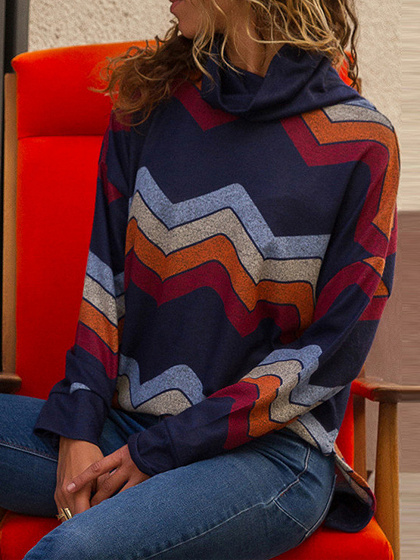Multicolor High Neck Geo Pattern Print Long Sleeve Sweatshirt