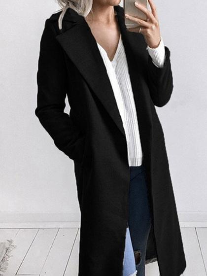 Black Lapel Long Sleeve Chic Women Wool Blend Coat