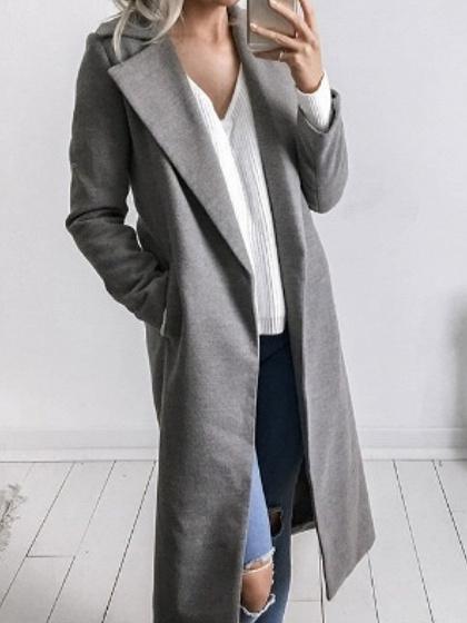 Gray Lapel Long Sleeve Chic Women Wool Blend Coat