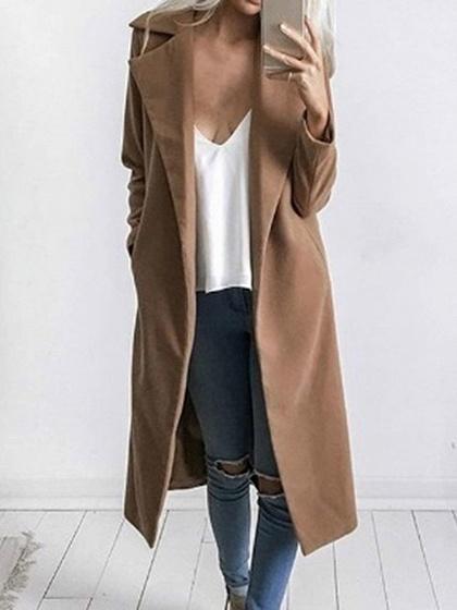 Khaki Lapel Long Sleeve Chic Women Wool Blend Coat