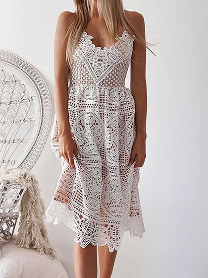 White V-neck Open Back Chic Women Lace Cami Dress