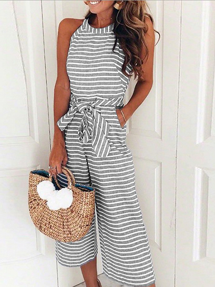 Gray Stripe Cotton Tie Waist Pocket Detail Sleeveless Jumpsuit
