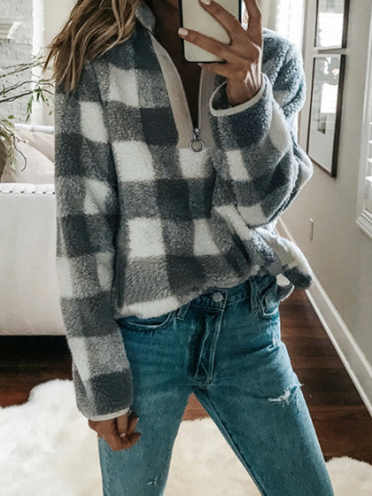 Gray Plaid Lapel Zip Front Long Sleeve Women Sweatshirt