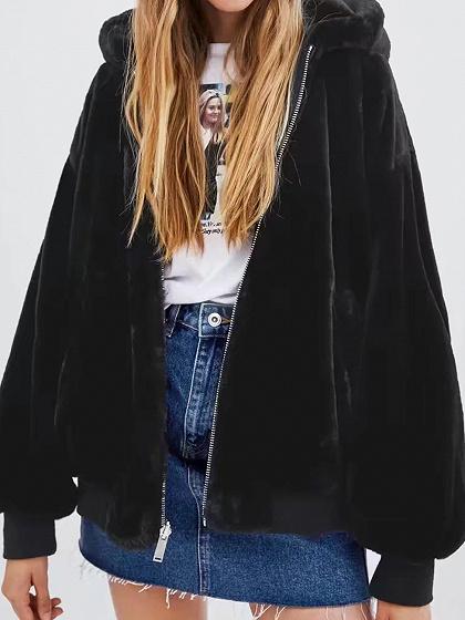Black Long Sleeve Women Fleece Hooded Bomber Jacket