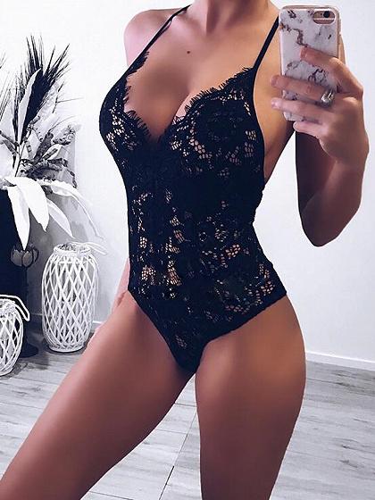 Black Spaghetti Strap Plunge Open Back Women Lace Bodysuit