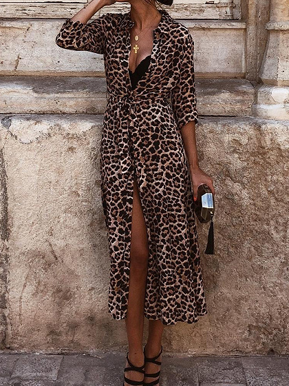 Yellow Leopard Print Tie Waist Long Sleeve Women Maxi Dress
