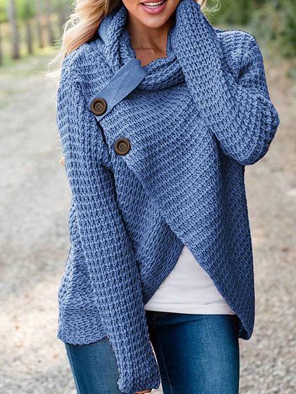 Blue High Neck Asymmetric Hem Long Sleeve Women Sweater