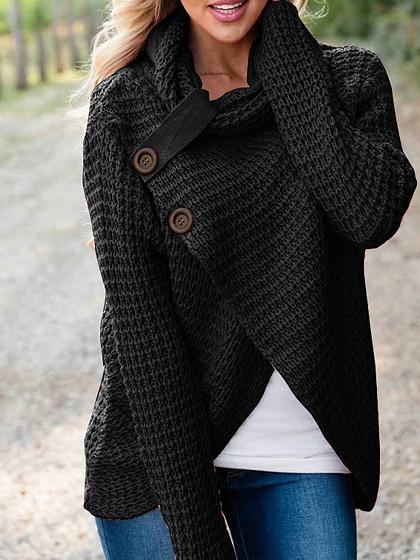 Black High Neck Asymmetric Hem Long Sleeve Women Sweater